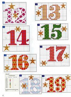 Zahlen 12 - 19 für Adventskalender