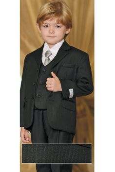 Flower Boy: Breasted Double Lined Pin Striped Suit Set - Boys Suits & Tuxedos