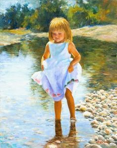 """Painting: """"Getting Her Feet Wet""""  Painter: Deanne Dixon  Quote from Deanne Dixon: """"The little flower girl headed straight to the creek after my nephew's wedding on a cattle ranch in Montana. Since I always have camera--will travel, I kept snapping until a look I wanted presented itself."""