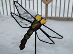 Stained Glass Dragonfly Pot Sticker/Garden by RedfordGlassStudio, $22.50