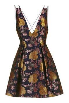 Plunge Floral Jacquard Dress
