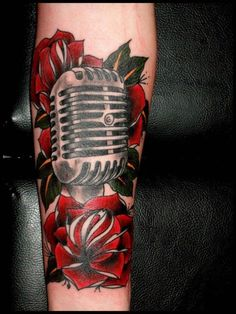 roses and microphone by Dave Brugge