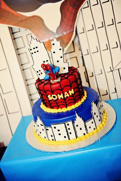 B-day cake idea for Noah's Spidey party!