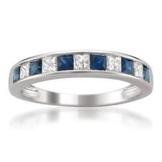 14k White Gold Princess-cut Diamond and Blue Sapphire Wedding Band Ring (1 cttw, H-I, I1-I2)