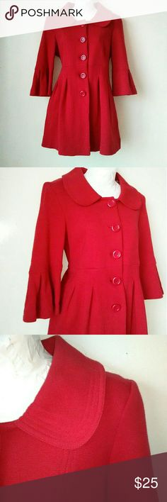 Forever 21 Red Pleated Coat NWT Red pleated button down coat 3/4 sleeves Fully lined with 2 pockets Shell 100% cotton Lining 100% poly Length is 31 inches Brand New with tags Forever 21 Jackets & Coats