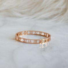 Trendy Roman Numeral Bangle Bracelet Alloy, Real Rose Gold Plated