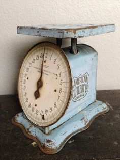 Wow! Century old scale. 102 years old antique metal scale in a beautiful shade of light blue color! This is no chalk paint, its all original early paint