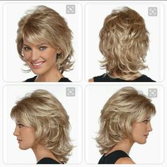 Medium Length Hair With Layers, Medium Hair Cuts, Medium Hair Styles, Curly Hair Styles, Medium Shag Hairstyles, Blonde Layered Hair, Shaggy Short Hair, Curly Hair With Bangs, Thin Hair