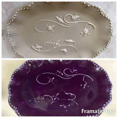 Handmade ceramic slab platter with slip trailed rosebud vines. Plum purple glaze. Before and after --by Kirsten Smith
