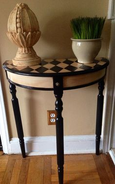 Hand Painted Console Table Harlequin Design by ColorfulHomeDesigns