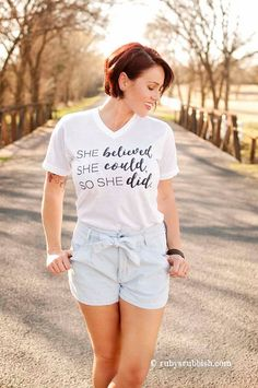 She Believed - Christian V-Neck Tee by Ruby's Rubbish $27