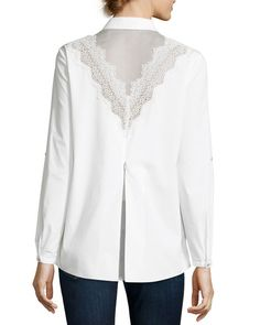 Cher Crocheted-Yoke Button-Front Blouse, White