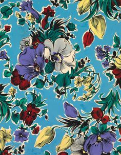 MULTICOLOURED BUNCHES An exclusive reproduction of a Parisian textile design from Atelier Zina de Plagny, 1940s-1950s.