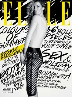 Elle Indonesia, Gisele Bündchen, pinned by Ton van der Veer. Love the mix of photograph and hand drawn elements, and that the bits the editors wanted to stand out for the cover have been put into a contrasting colour (yellow)