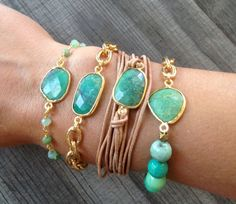 Chrysoprase Stone Bracelet with Gold Chain - BG01