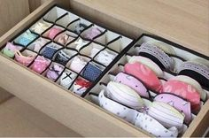 Lingerie drawer organizers help keep your undergarments on the straight and narrow.  | 53 Seriously Life-Changing Clothing Organization Tips