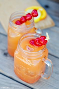 Coconut Rum Punch 1 cup Blue Chair Bay Coconut Rum 2 cups orange juice 2 cups pineapple juice 2 cups ginger ale 1 cup grenadine or cherry syrup Orange and lemon slices, maraschino cherries for garnish