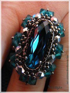 Krisztagyöngy: Swarovski köves gyűrű