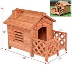 Wood Dog House Pet Shelter Kennel Weather Resistant Home Outdoor Small Pets   #WoodDogHouse