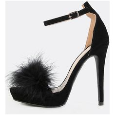 Platform Feather Heels BLACK ($30) ❤ liked on Polyvore featuring shoes, pumps, black, platform pumps, black platform shoes, ankle strap platform pumps, high heel stilettos and open toe pumps