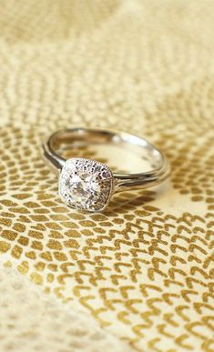 White Gold Victorian Halo Engagement Ring