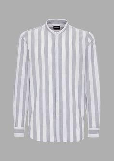 1c5160d23 Camisa de corte regular de lino puro con cuello chino