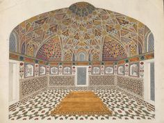 Seven drawings of Mughal architecture Delhi, India (possibly, made)  Agra, India (possibly, made)  ca.1820 (drawn)  Artist/Maker: unknown (production) Watercolour on paper- This example depicts the tomb of Itimad ud-Daula, the title given to Mirza Ghiyath Beg, a senior court official under the Mughal Emperor Jahangir (r.1605-1628). It was the first building to be constructed entirely of marble in Mughal India and was designed by his daughter.