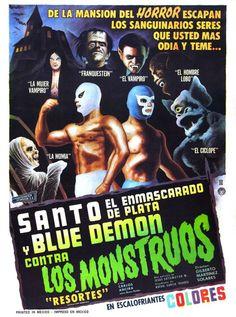 Holidays, Halloween  Memes en Español / La Mujer Vampiro y Otros Monstruos contra El Santo y Blue Demon Horror Movie Posters, Movie Poster Art, Film Posters, Horror Movies, Horror Film, Comedy Movies, Blue Demon, Look Retro, Adventure Movies