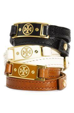 Tory Burch Enamel Logo ID Bracelet - ShopStyle Women's Fashion Jewelry Accessories, Fashion Accessories, Fashion Jewelry, Trendy Jewelry, Leather Accessories, Id Bracelets, Bangles, Leather Bracelets, Simple Bracelets