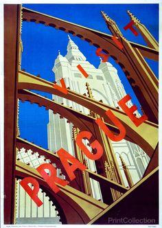 Visit Prague Poster 1930's