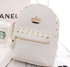 Hot Luxury Jerry Candy Pu Pleather Studded Crown Backpack School Bag Great Style for Ipad Rucksack White Mini Mochila, Cute Mini Backpacks, Stylish Backpacks, Studded Backpack, Backpack Purse, Fashion Bags, Fashion Backpack, Monkey Bag, Accesorios Casual