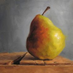 """MICHAEL NAPLES. 'Just A Pear' Oil on 1/4"""" Board. Approx 6""""x6"""" SOLD"""