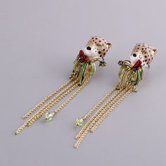 Les Nereides Enamel Leopard Gold Earrings Bracelets Ring Necklace Fashion beautiful Jewelry Sets For Women Girl Accessories