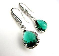 bridal bridesmaid emerald green crystal quartz pendant drop with white gold cz hook earrings