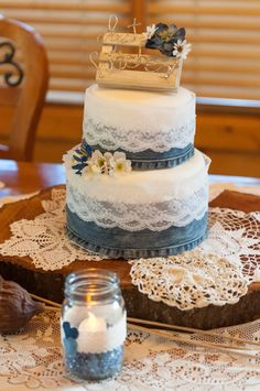Denim and lace wedding cake