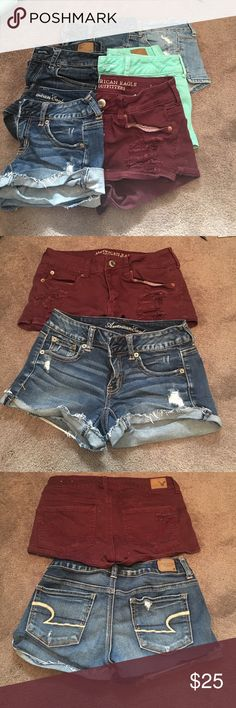 6 pairs of American Eagle shorts All in good condition : green and light jean -6 Maroon,and two dark jeans- 4 super stretch-2 American Eagle Outfitters Shorts Jean Shorts