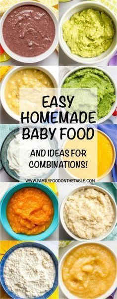 Tons of ideas for easy homemade baby food combinations, both the basics for beginners and more interesting combinations for older babies! | www.familyfoodonthetable.com