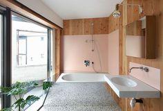 Pink + terrazzo + pine + mirrors = bathroom heaven in Antwerp