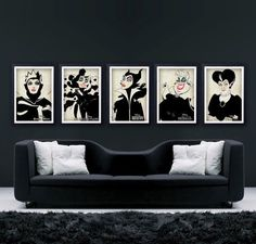 Interiors. Disney. Villains. Design. Art. Black. White. Monochrome. Simple.