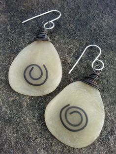 Artisan Polymer Tribal Swirl Earrings Sterling by stacilouise,