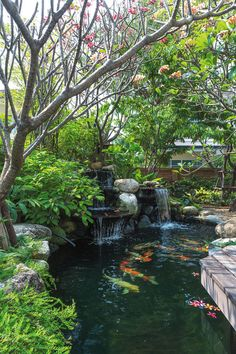 If you were looking for (water gardens), take a look Japanese Garden Landscape, Japanese Garden Design, Pond Landscaping, Ponds Backyard, Garden Pond Design, Landscape Design, Fish Pond Gardens, Small Water Gardens, Pond Waterfall