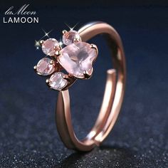 Lamoon Animal Paw Natural Pink Rose Quartz Ring 100% S925 Silver Ri027Bm #ebay #Fashion