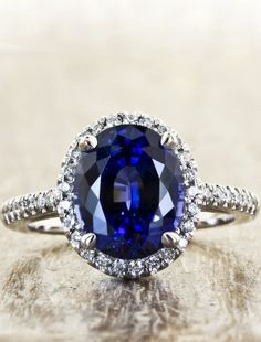 Camilla ring: 3.68 ct cultured blue sapphire engagement ring. A beautiful oval shape and checkerboard cut, by Ken & Dana Design.