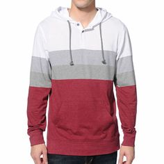 The Zine Patriots burgundy stripe long sleeve hooded henley shirt is exactly what you need on chilly fall days. Layer up in a color blocking burgundy lower, grey and white stripe middle, and solid white upper, adjustable drawstring hood, 2 button henley collar, kangaroo pouch pocket, and a tagless design.