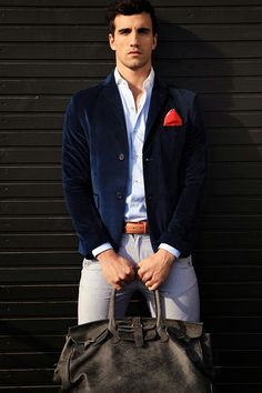 Stylish. Blue Velvet Blazer, Light Blue Shirt & Gray Shorts (Yes, Shorts)