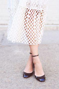 Emilee Anne wearing Acne Studios Leather Jacket // American Apparel Crop Top // Tibi Skirt // Valentino Heels // Celine Sunglasses