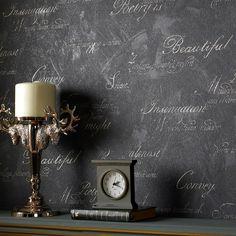 Concrete Script Charcoal | Graham & Brown