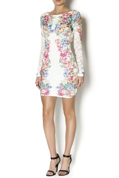 Lace floral long sleeve short dress with a v back