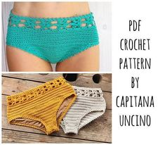 PDF-file for Crochet PATTERN. I like this, as it looks wearable and you could change the design readily. Débardeurs Au Crochet, Crochet Stitches, Crochet Patterns, Double Crochet, Single Crochet, Knitting Patterns, Crochet Lingerie Pattern, Crochet Bikini Bottoms, Crochet Shorts