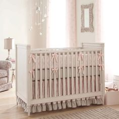 So cute Paris Script Crib Bedding | Pink and Gray Baby Girl Crib Bedding Featuring French Damask | Carousel Designs #nursery #baby